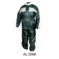 Black Waterproof Nylon Riding Rain Suit w Gray Reflector Stripe