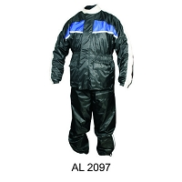 Black Waterproof Nylon Riding Rain Suit w Blue Reflector Stripe