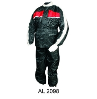 Black Waterproof Nylon Riding Rain Suit w Red Reflector Stripe