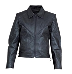 Allstate Ladies Braided Black Leather Motorcycle Biker Jacket