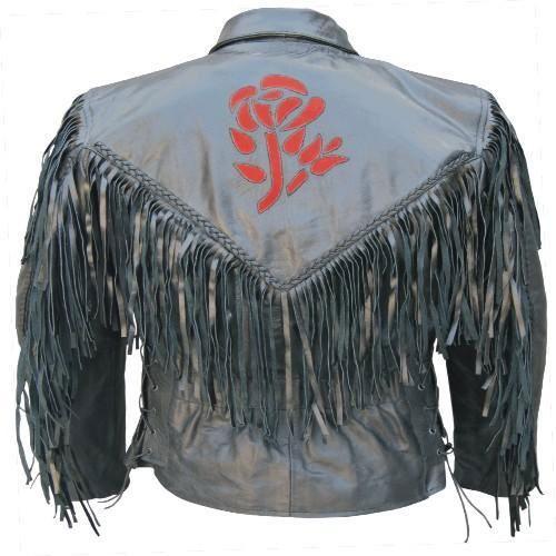 Ladies Black Leather Motorcycle Biker Jacket W Fringe