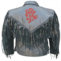 Ladies Black Leather Motorcycle Biker Jacket w/ Fringe, Red Roses