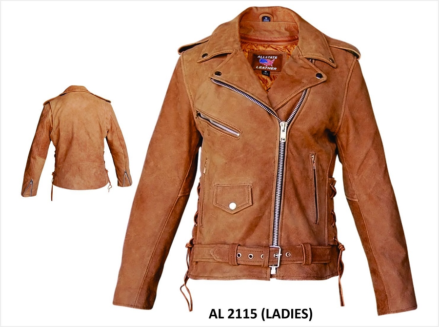 Womens Brown Leather Motorcycle Biker Jacket Zip Out Liner