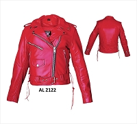 Ladies Classic Red Leather Motorcycle Biker Rider Jacket w Side Lace