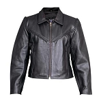 Ladies Analine Cowhide Braided Black Leather Jacket