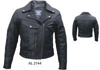 Ladies Black Leather Motorcycle Biker Jacket Braided, Zip-Out Liner
