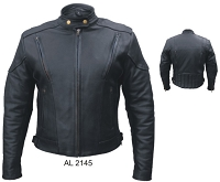 Ladies Black Leather Motorcycle Biker Touring Jacket, Zip-Out Liner