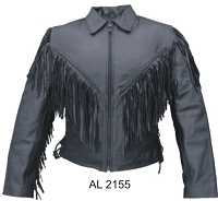 Ladies Black Leather Biker Jacket w Fringe, Zip-Out Liner