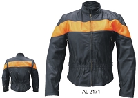 Ladies Black Leather Motorcycle Biker Jacket w Orange Stripe Vented