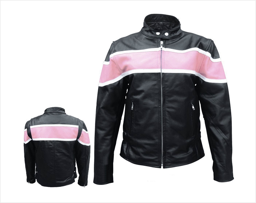 Ladies Black Leather Motorcycle Biker Jacket With Pink Stripe