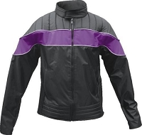Ladies Nyon Black Motorcycle Biker Jacket with Purple Reflector Strip
