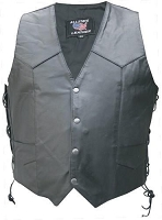 Mens Black Leather Motorcycle Biker Vest, Side Lace, Gun Pockets