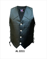 Mens Buffalo Nickel Snap Black Leather Motorcycle Biker Vest