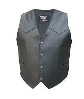Men's Basic Black Leather Motorcycle Biker Vest