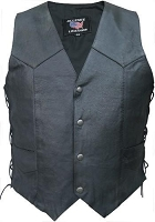 Mens Basic Water Buffalo Black Leather Motorcycle Biker Vest Side Lace