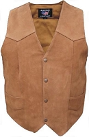Mens Water Buffalo Brown Leather Motorcycle Biker Vest