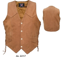 Mens Buffalo Brown Leather Motorcycle Biker Vest Side Lace