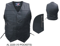 Mens 10 Pockets Analine Denim Style Black Leather Motorcycle Vest
