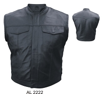 Mens SOA Style Black Leather Motorcycle Biker Vest