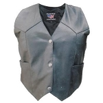 Ladies Basic Lambskin Black Leather Motorcycle Biker Vest