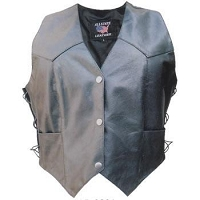 Ladies Basic Lambskin Black Leather Motorcycle Biker Vest Side Lace