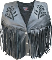 Ladies Black Leather Motorcycle Biker Vest With Fringe & Black Roses