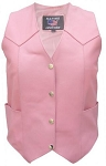 Ladies Basic Pink Leather Biker Motorcycle Vest