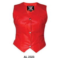 Ladies Basic Red Leather 3-Snap Biker Motorcycle Vest