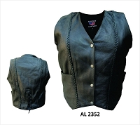 Ladies Naked Cowhide 4 Snap Vest with Vertical Braids