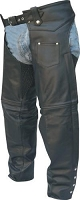 Unisex Traditional Black Leather Chaps with Spandex Inserts