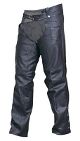 Unisex Traditional Black Water Buffalo Leather Chaps