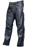 Unisex Black Buffalo Leather Motorcycle Chaps w Fringe