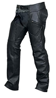 Unisex Black Analine Leather Motorcycle Chaps w Spandex