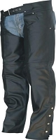 Unisex Black Lined Leather Motorcycle Chaps Front Pockets