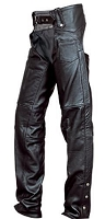 Unisex Black Leather Lined Traditional Motorcycle Chaps