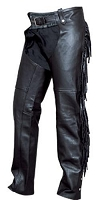 Ladies Black Leather Lined Motorcycle Chaps with Fringe