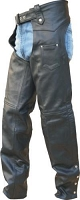 Unisex Black Leather Lined Motorcycle Chaps for Tall Folks