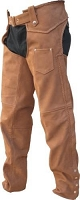 Unisex Brown Leather Lined Motorcycle Chaps w Braid Trim