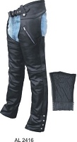 Unisex Black Leather Motorcycle Chaps Zip Out Lining