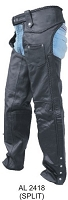 Unisex Black Leather Motorcycle Chaps W Braided Seams
