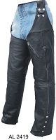 Unisex Leg Warmer Black Water Buffalo Leather Chaps