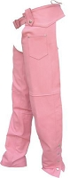 Ladies Pink Leather Hip Hugger Chaps