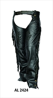 Ladies Black Leather Chaps with Black Rose and Fringe