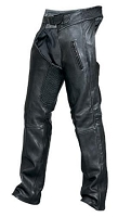 Unisex Black Drum Dyed Leather Motorcycle Chaps