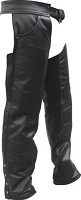 Unisex Black Drum Dyed Leather Motorcycle Chaps w Braid Trim