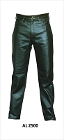 Mens Black Aniline Leather Jean Style  Motorcycle Pants