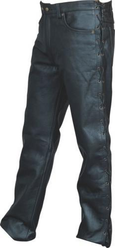 Mens Black Buffalo Leather Motorcycle Pants W Side Lace