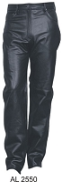 Ladies Black Leather 5-Pocket Jean Style Pants