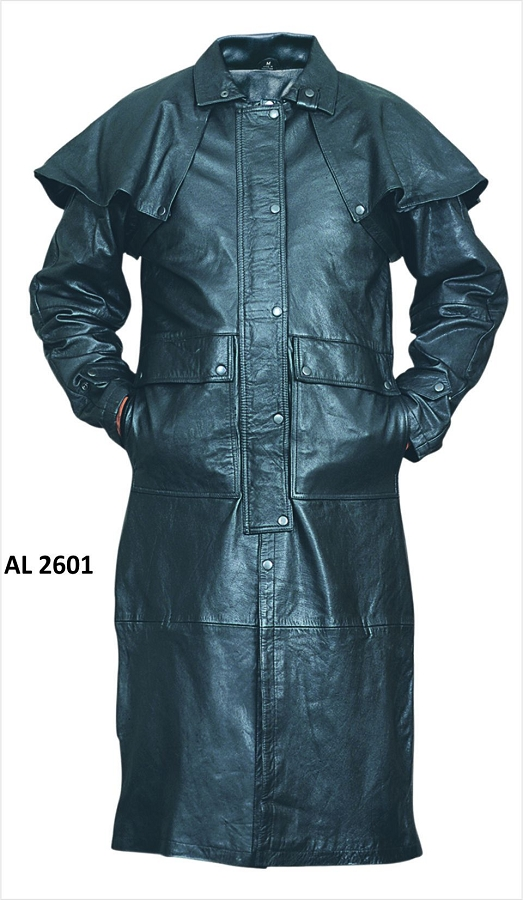 Mens Black Soft Light Weight Leather Duster Trench Coat accc8ebd13a5