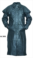 Mens Black Soft Light Weight Leather Duster Trench Coat